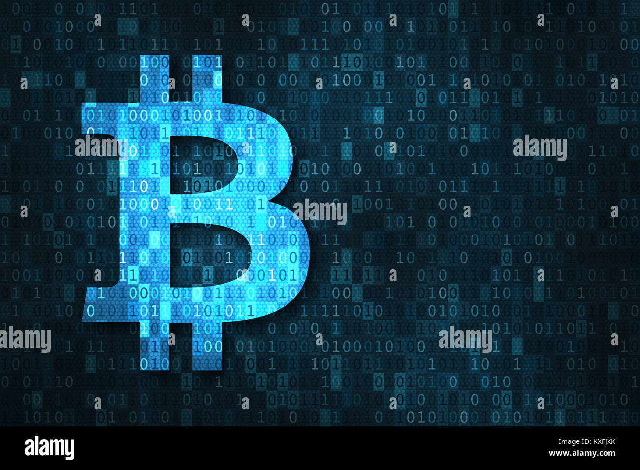 Bitcoin cryptocurrency based on blockchain technology concept with BTC currency symbol over binary digits code matrix - Stock Image
