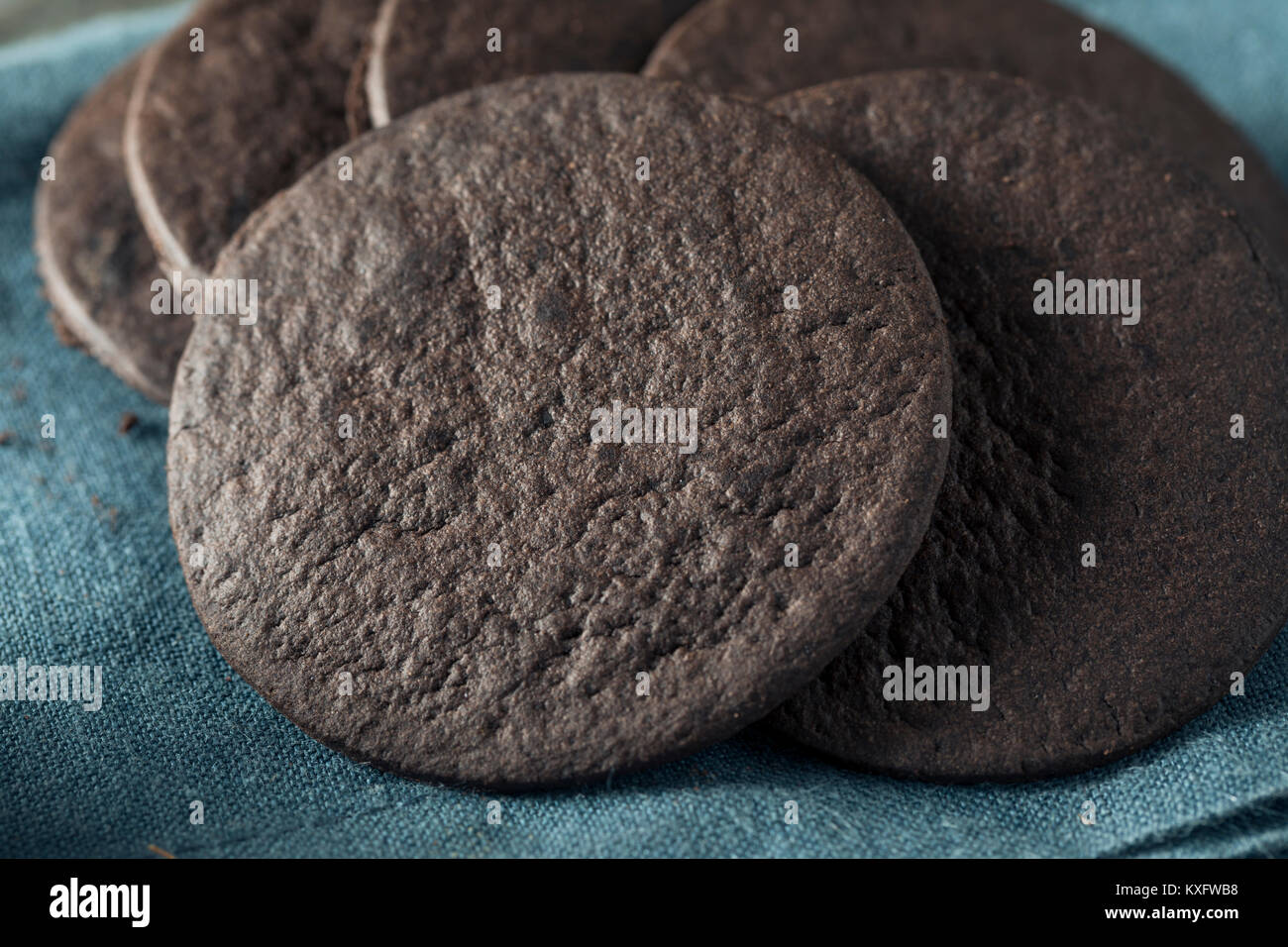 Homemade Round Chocolate Wafer Cookies in a Stack - Stock Image