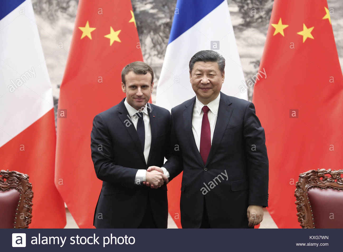 Beijing, China. 09th Jan, 2018. Chinese President Xi Jinping meeting with French President Macron in Beijing, China - Stock Image