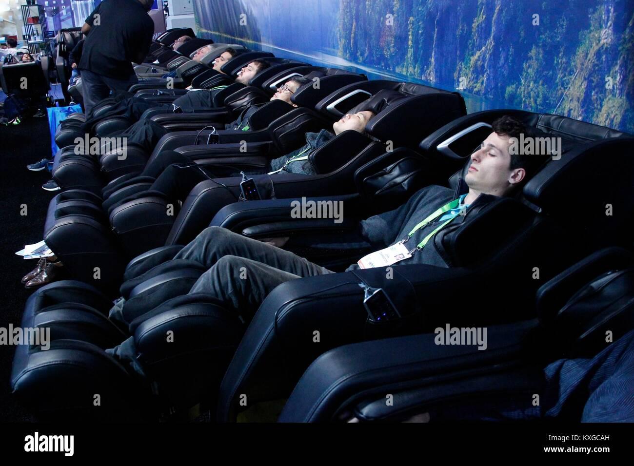 Las Vegas Nv Usa 9th Jan 2018 Luxury Full Body Massage Chairs