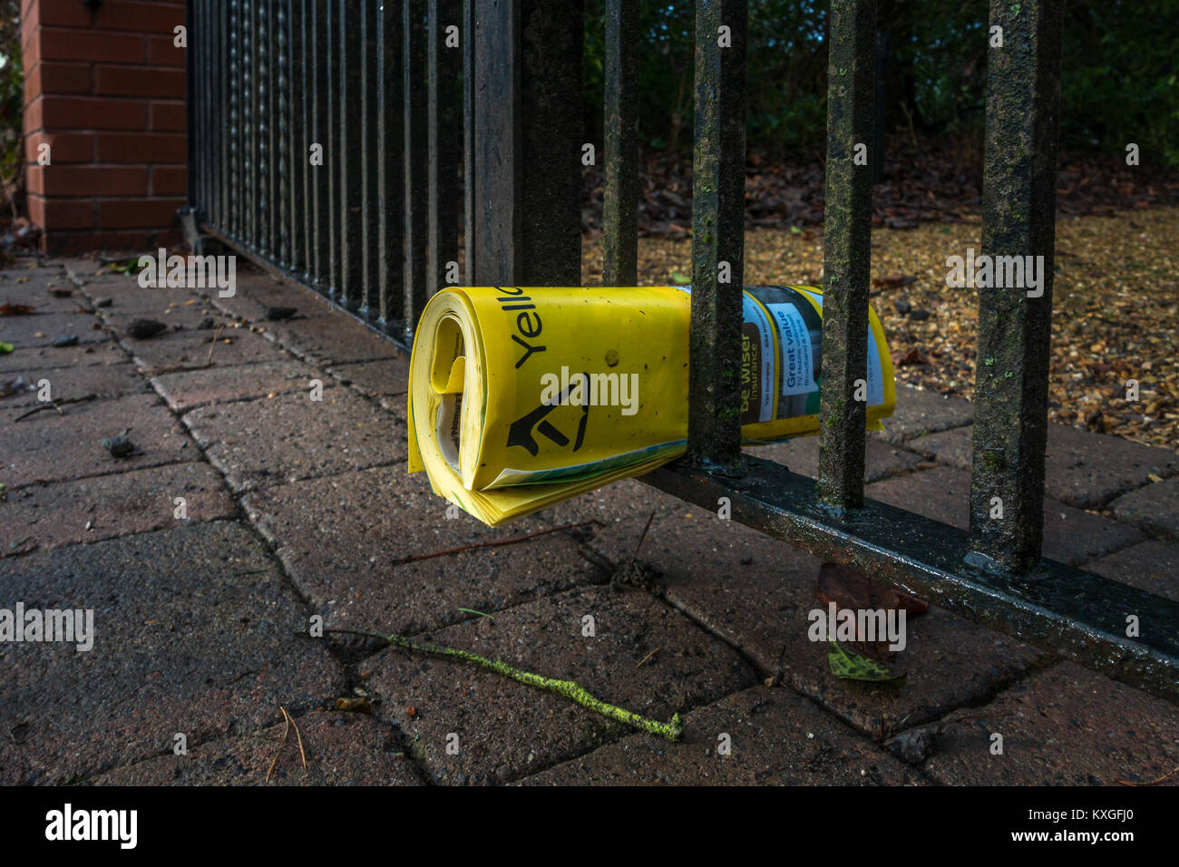 Ilkley, West Yorkshire, UK. 10th Jan, 2018. Unwanted Yellow Pages telephone book left outside. Are telephone directories - Stock Image