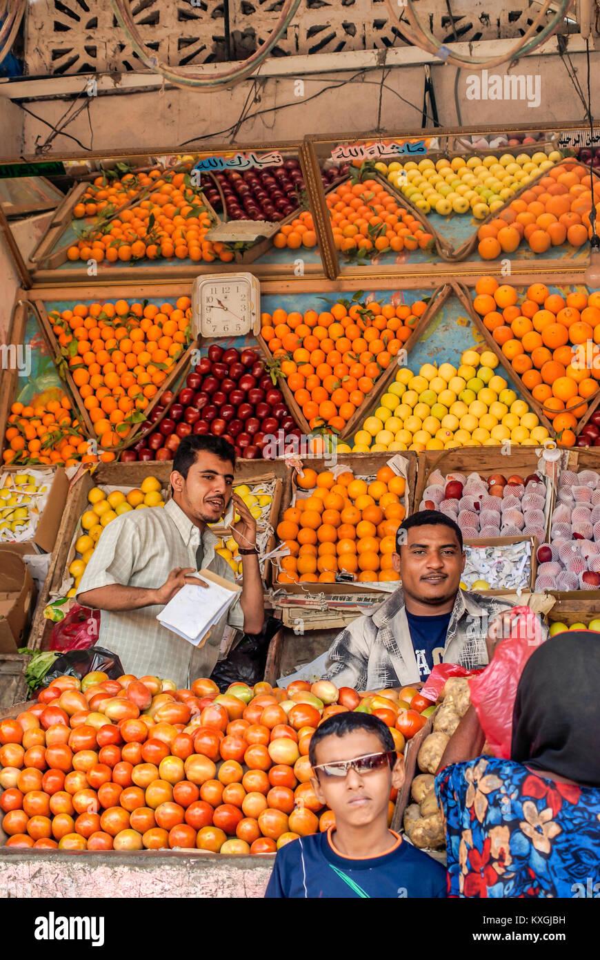 Traditional Arabian market in the city Aden, Yemen | Traditioneller arabischer Markt in Aden, Jemen - Stock Image