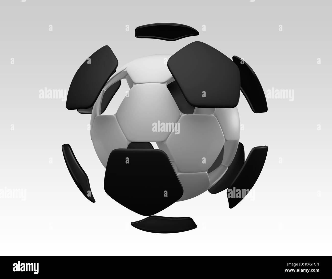 3D Soccer Ball Exploded View - Stock Image