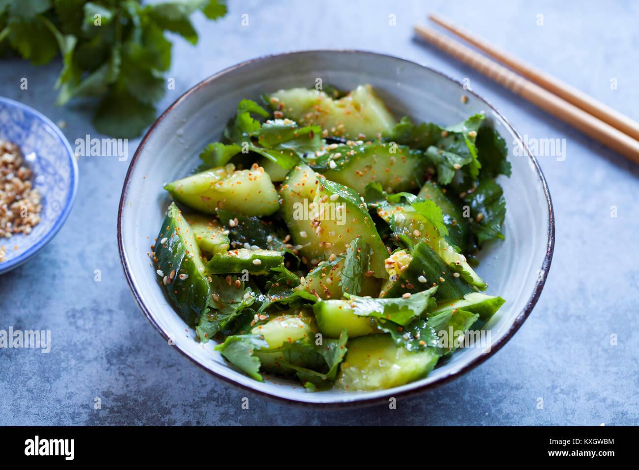 Asian cucumber salad - Stock Image