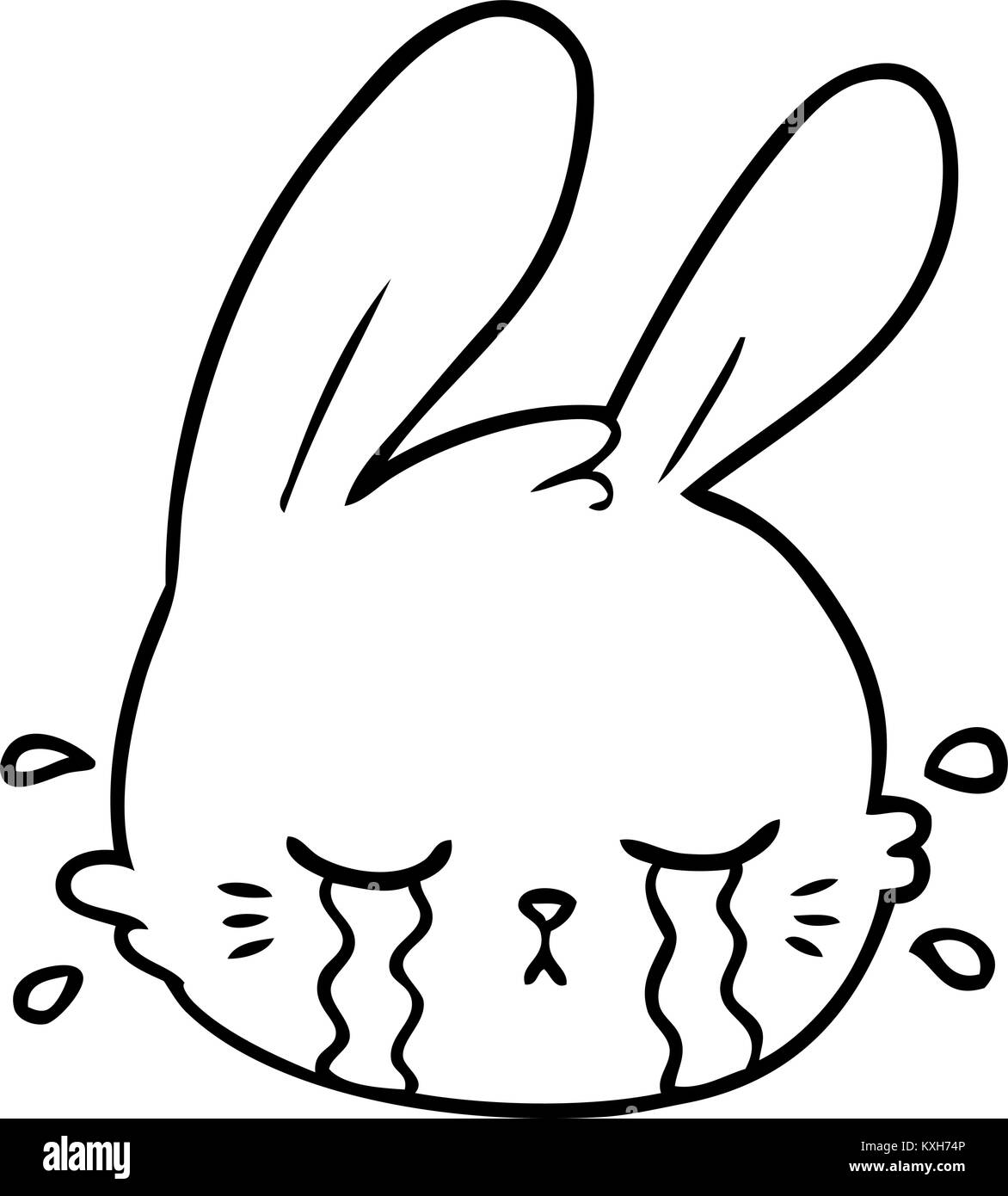 Cartoon Rabbit Face Crying Stock Vector Art Illustration Vector