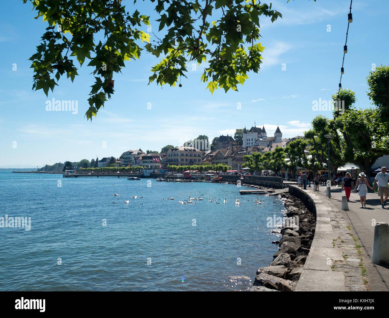 Nyon lakeside promenade - Stock Image