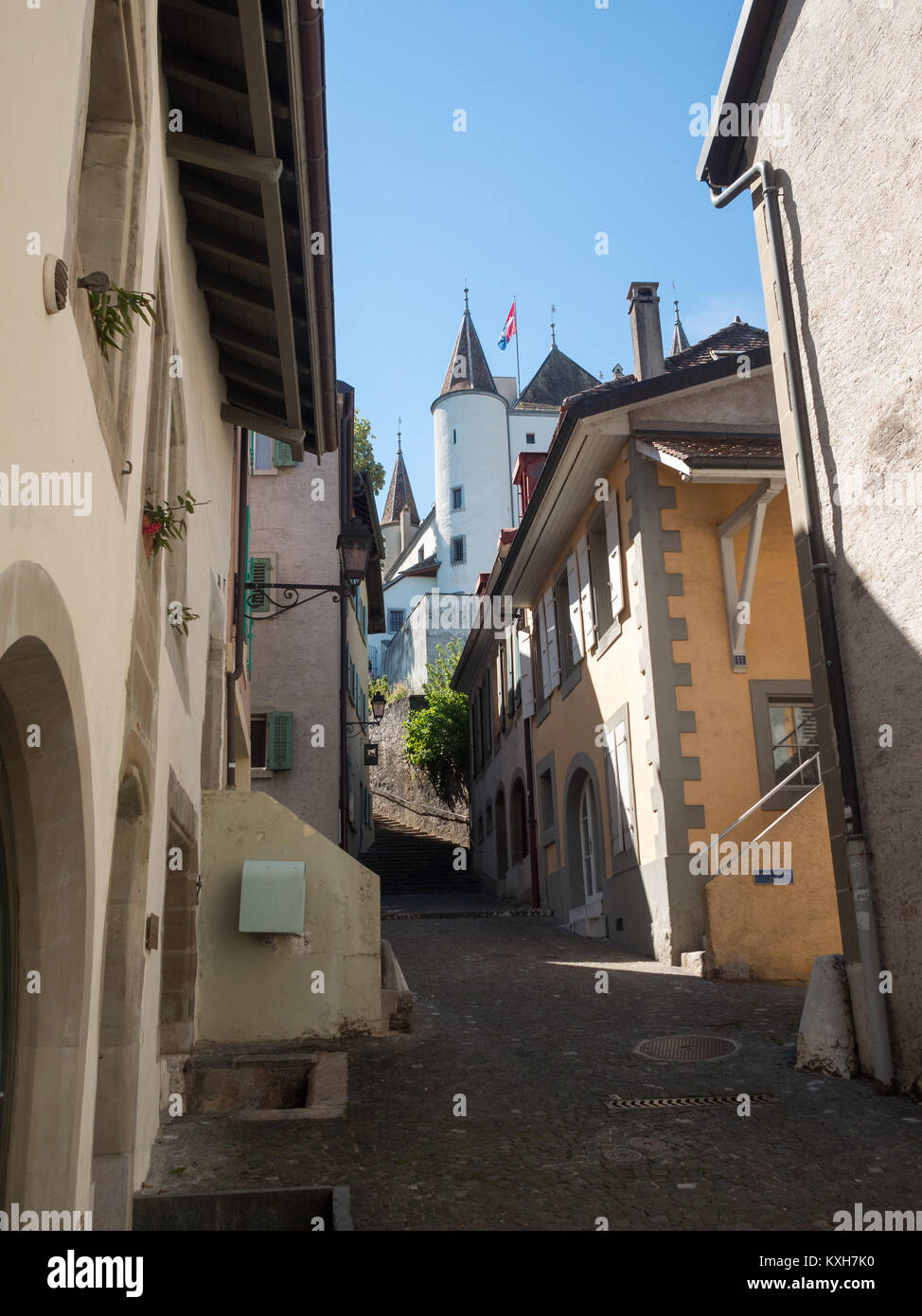 Nyon street with the castle at the top - Stock Image
