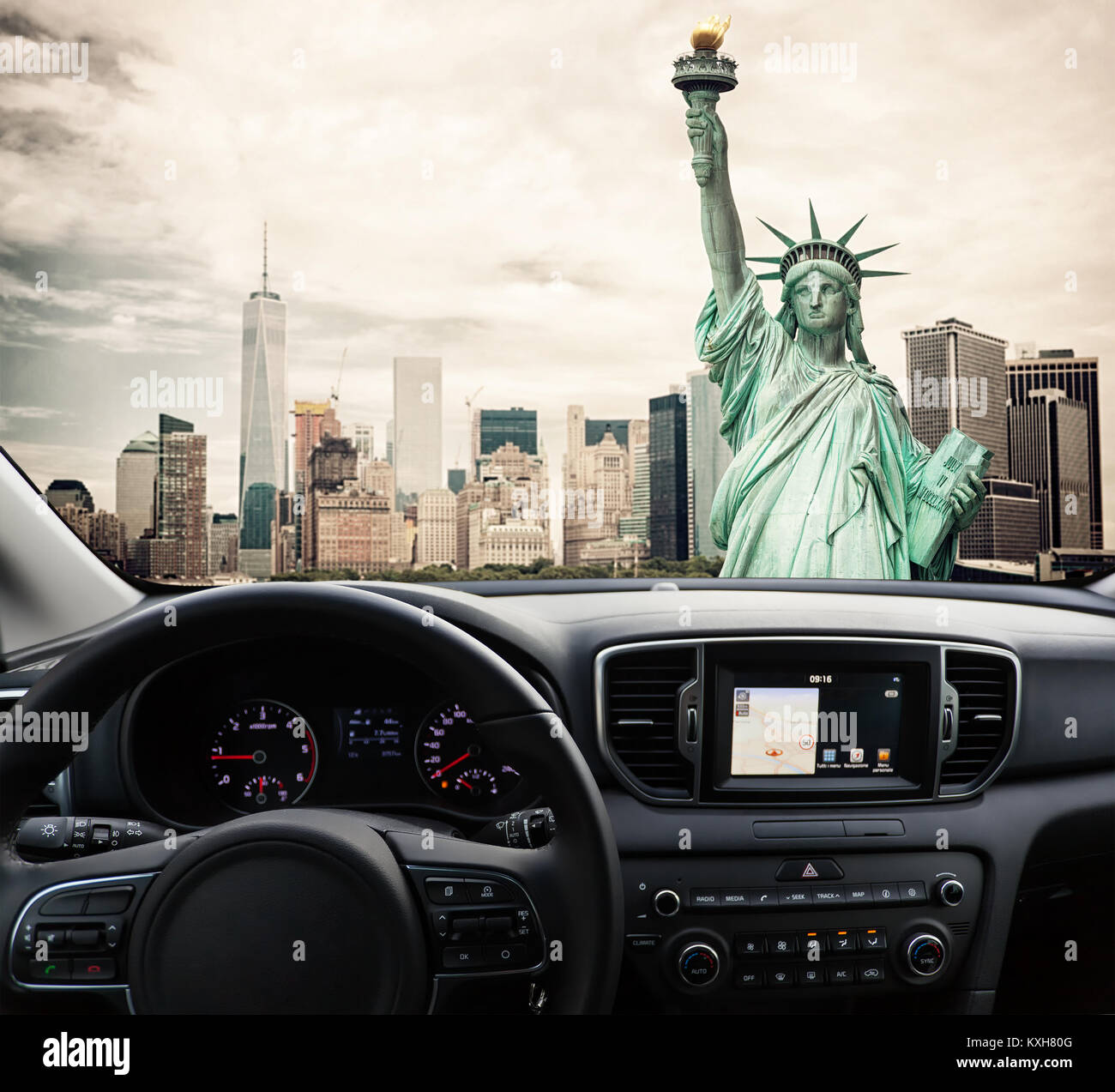 View of a car dashboard with a navigation unit traveling to New York City - Stock Image