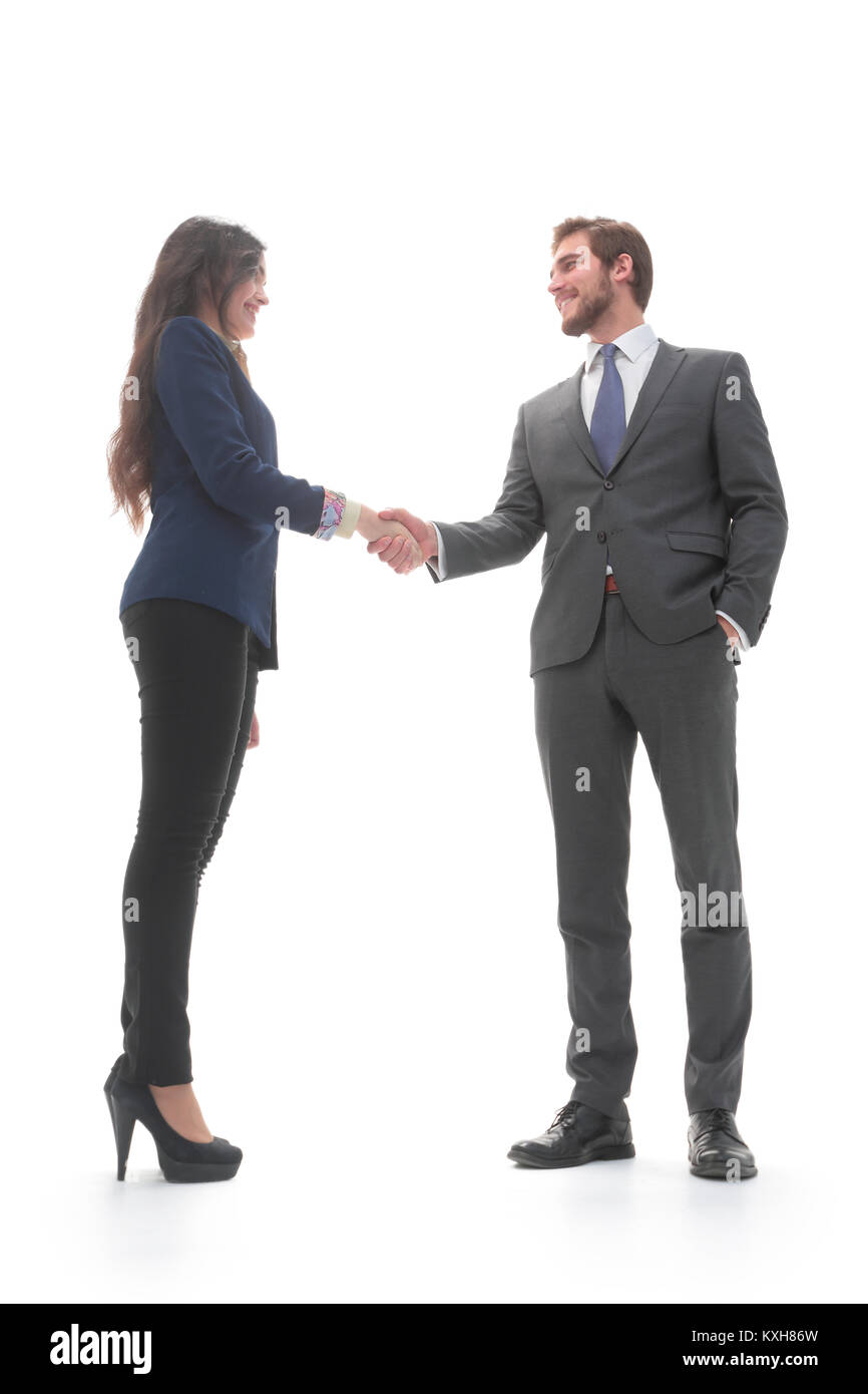 Business people shaking hands, isolated on white. - Stock Image
