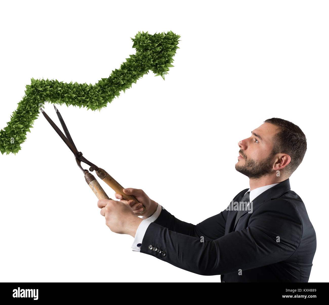 Businessman that cuts and adjusts a plant shaped like an arrow stats. Concept of startup company . 3D Rendering - Stock Image