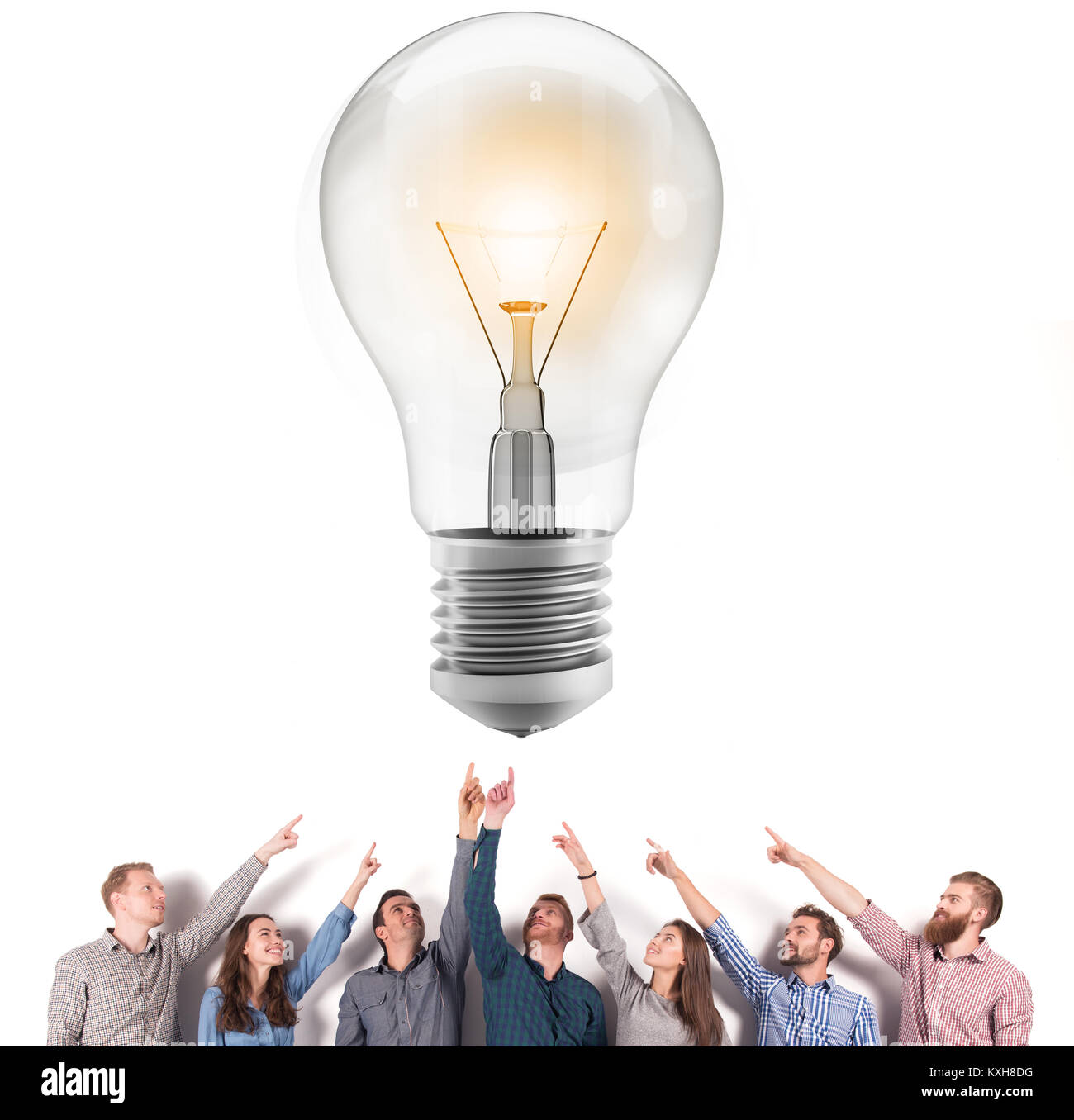 Brainstorming concept with businessmen that indicate an a lamp. Concept of idea and company startup - Stock Image