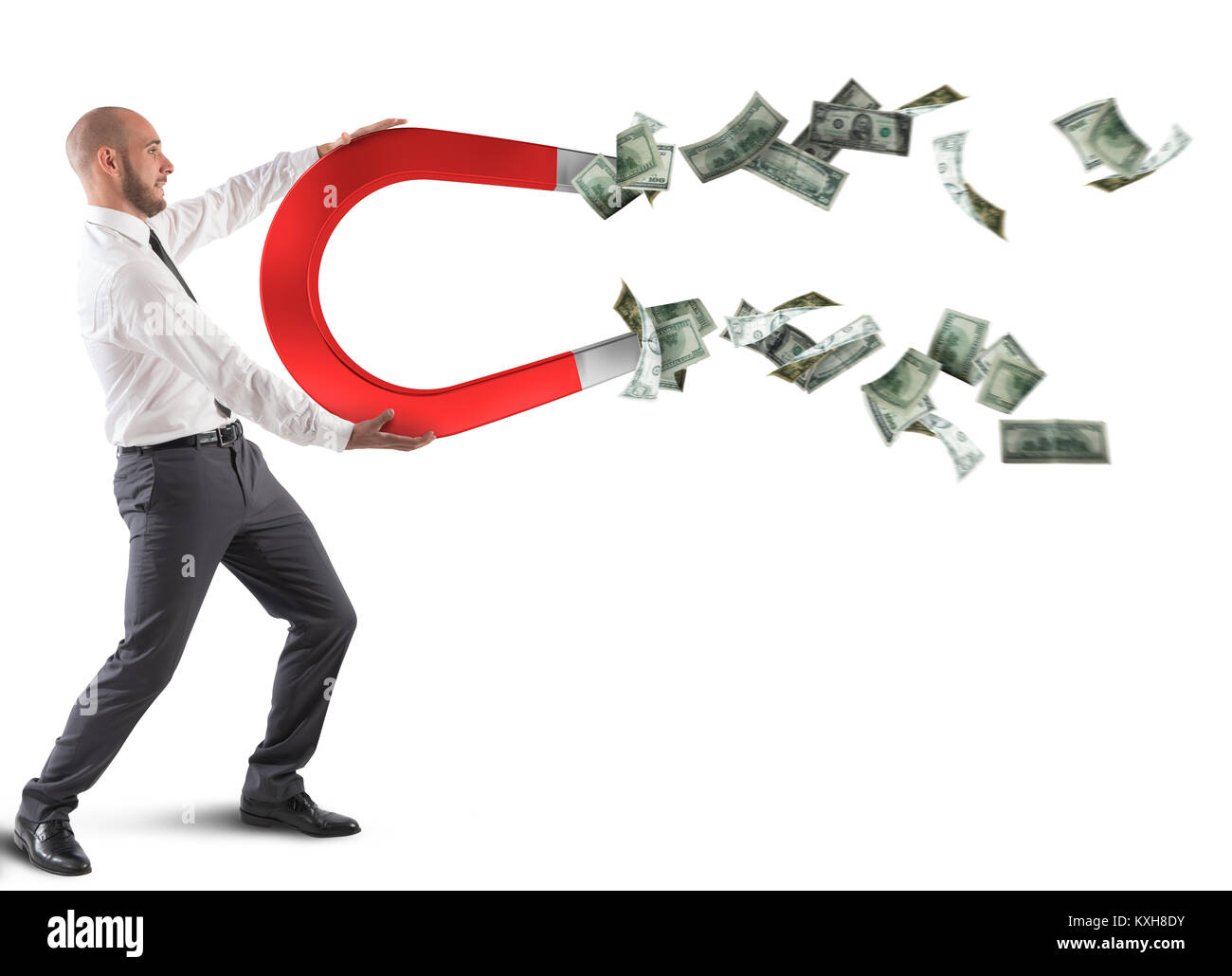Businessman attracts money - Stock Image