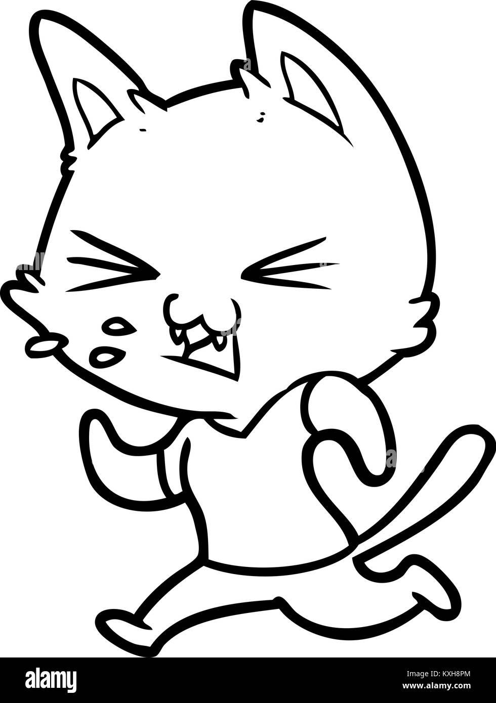 cartoon running cat hissing stock vector art illustration vector Cat PO cartoon running cat hissing