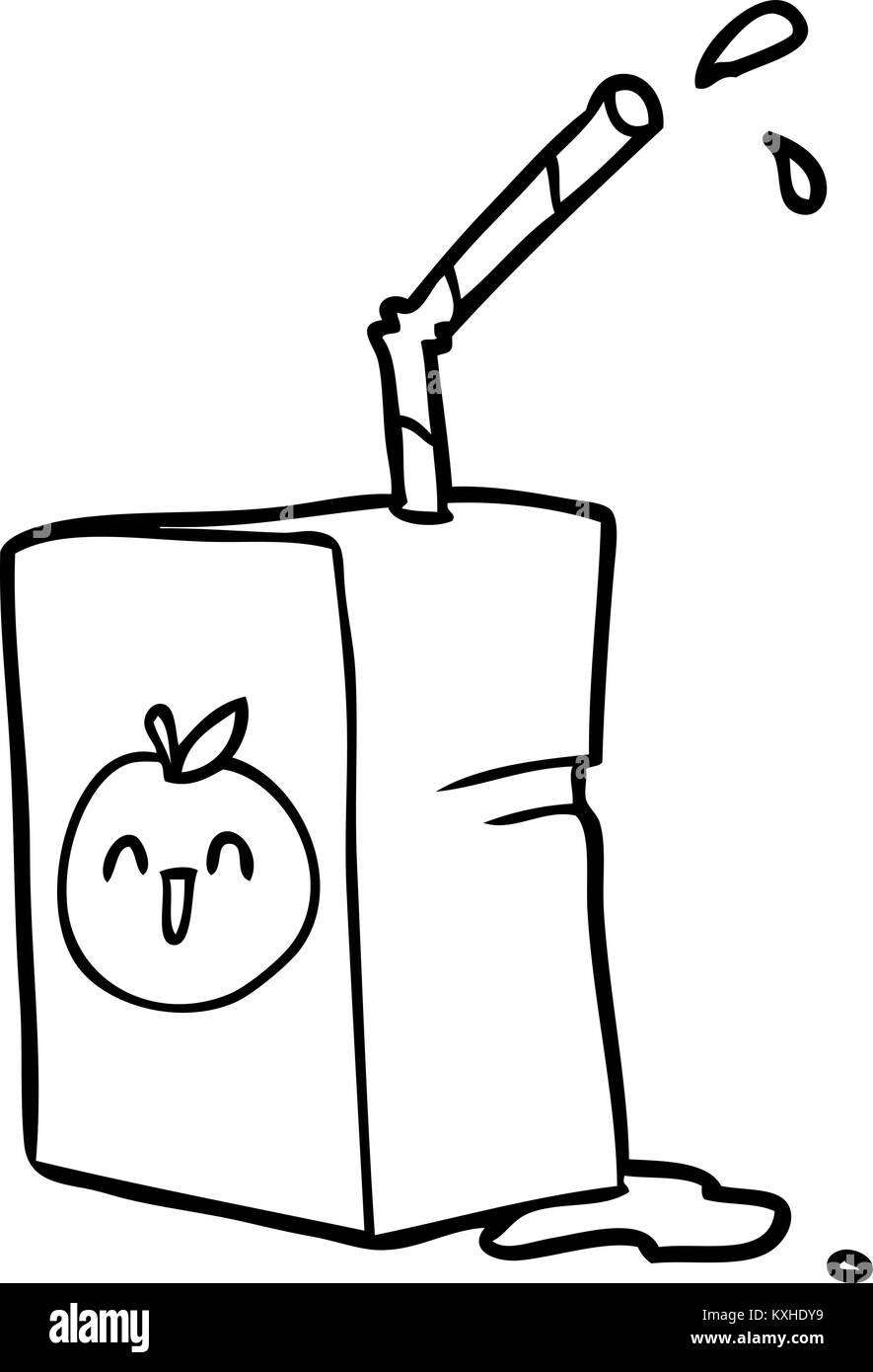 Line Art Juice : Line drawing of a apple juice box stock vector art