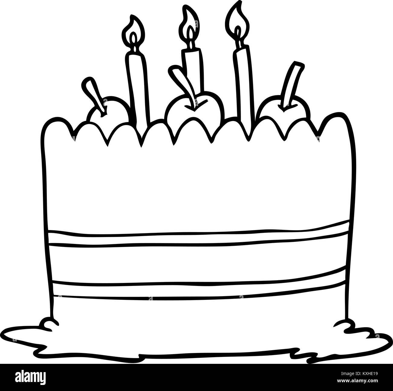 Remarkable Line Drawing Of A Birthday Cake Stock Vector Art Illustration Personalised Birthday Cards Vishlily Jamesorg