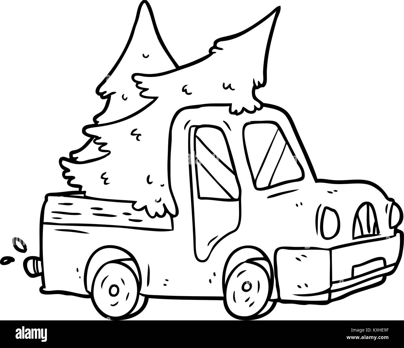 Line Drawing Of A Pickup Truck Carrying Christmas Trees Stock Vector Image Art Alamy