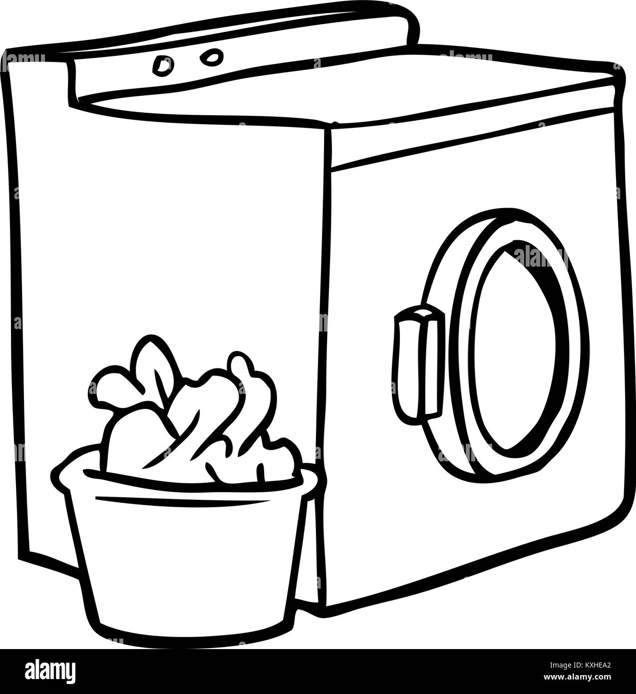 line drawing of a washing machine and laundry Stock Vector