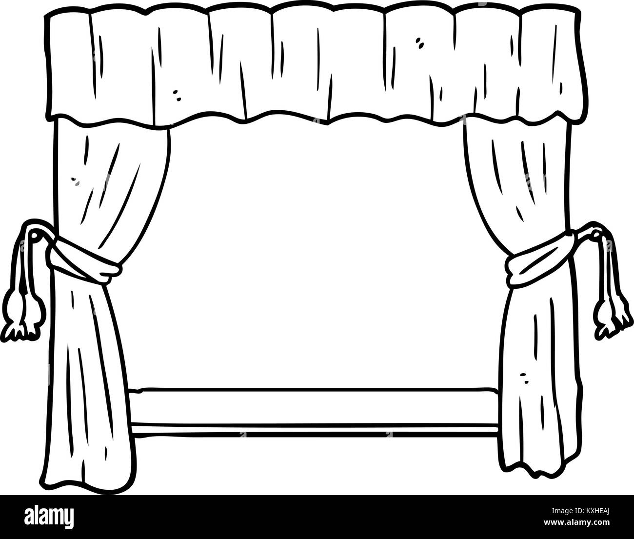 Line drawing of a curtains opening onto stage stock vector - Dessin de theatre ...