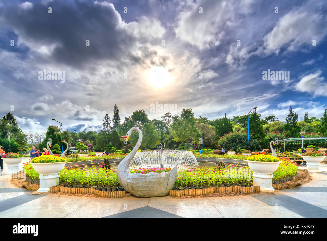 Garden flower city in afternoon sunshine, here is a gallery of types of tropical flowers attract many tourists at - Stock Image