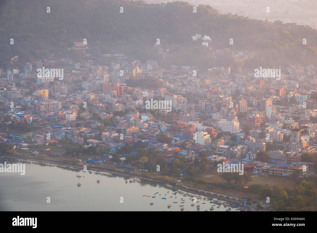 High angle scenic view of Pokhara and Phewa Lake, Nepal - Stock Image