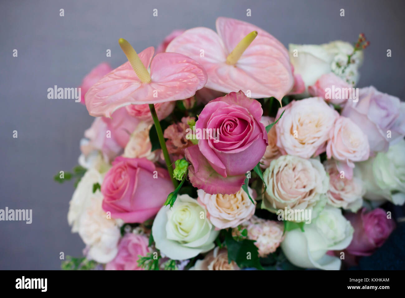 Different beautiful flowers in basket stock photos different the beautiful bouquet of different roses in white box in female hands on gray background izmirmasajfo