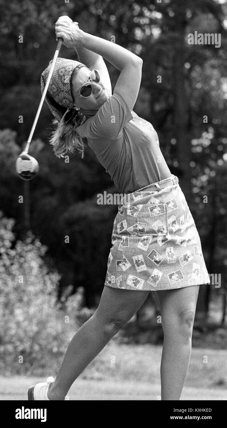 Mini skirts at golf tournaments In Cigarette Card Mini Skirt And A Head Scarf Donna Young Usa One Of The Leading Contenders For The 5 000 First Prize Drives Off The First Tee In The 3rd Round Of The