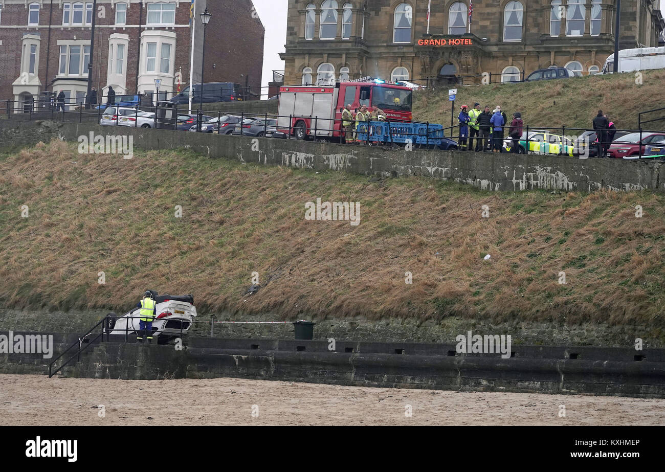 A Car Which Has Fallen Off A Cliff Onto The Promenade In Front Of Stock Photo Alamy