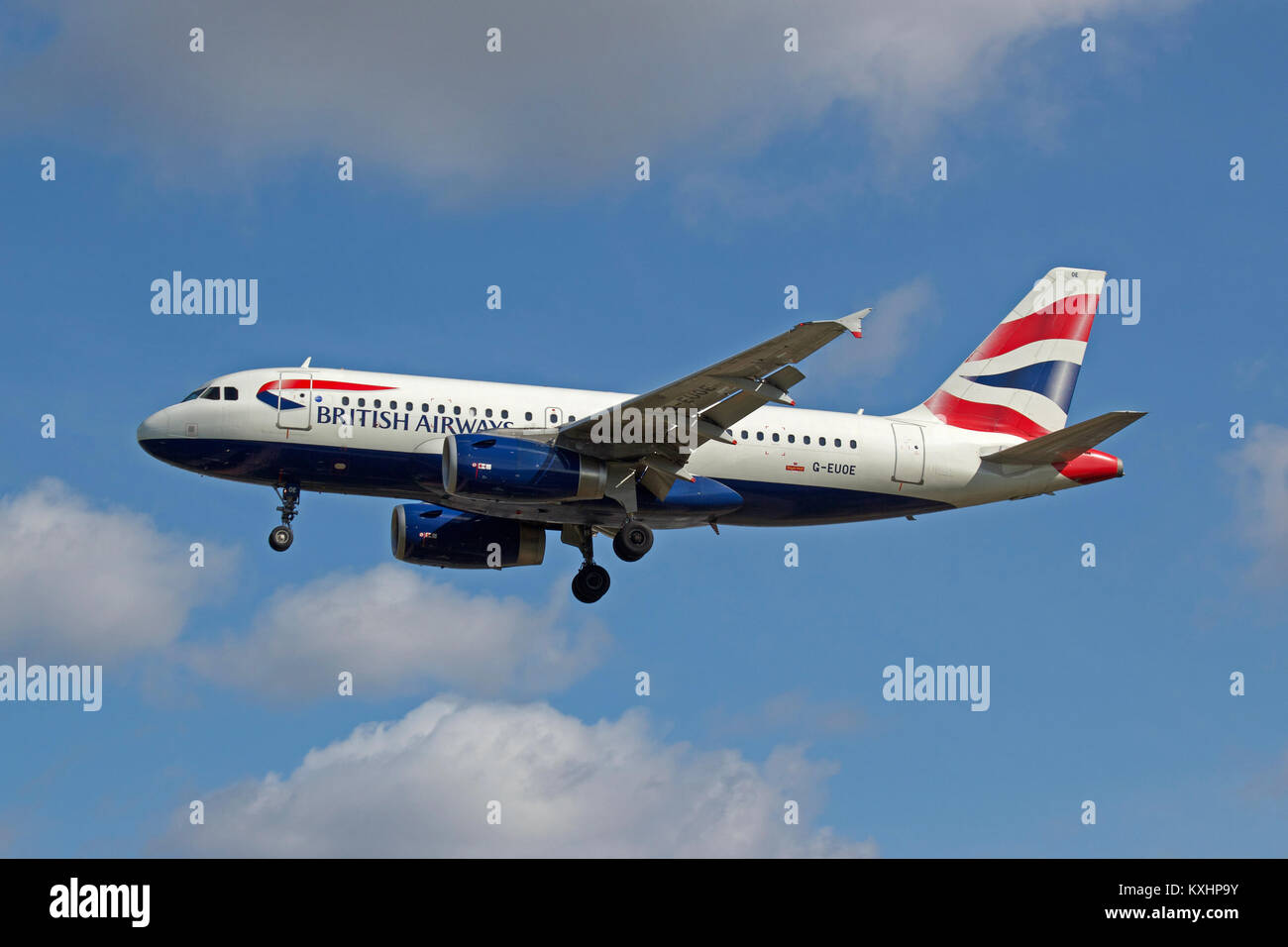 British Airways Airbus A319-131 G-EUOE landing at London Heathrow.Stock Photo