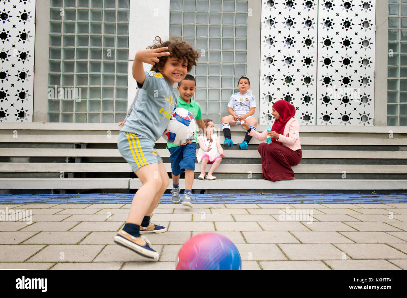 footbal morrocan kids in netherlands - Stock Image