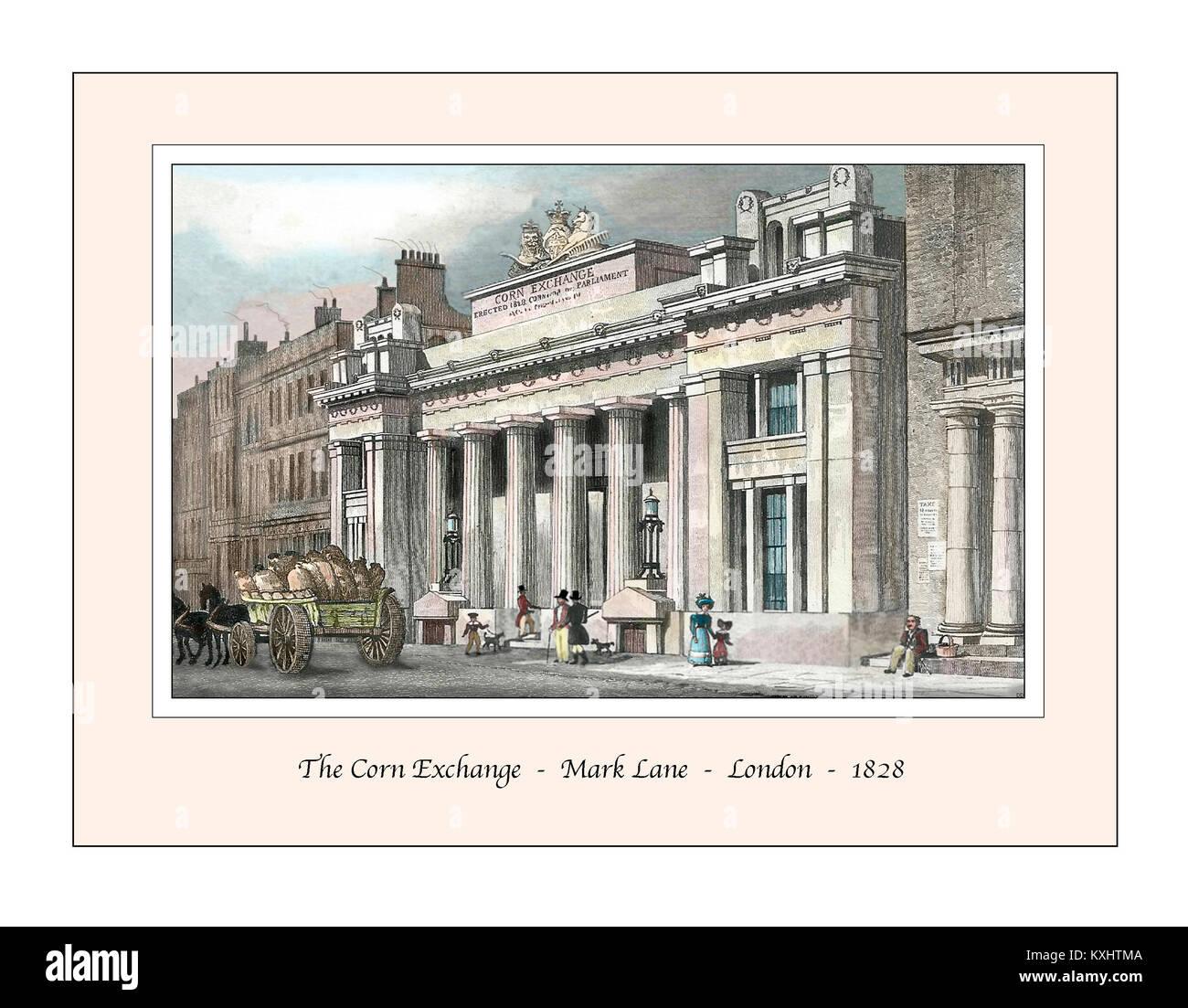 Corn Exchange Mark Lane London Original Design based on a 19th century Engraving - Stock Image