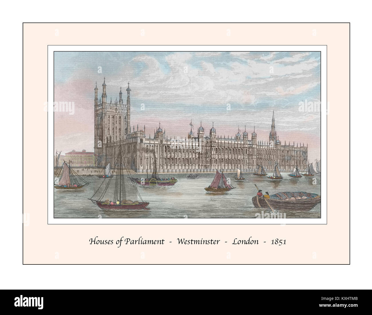 Houses of Parliament Westminster London Original Design based on a 19th century Engraving - Stock Image