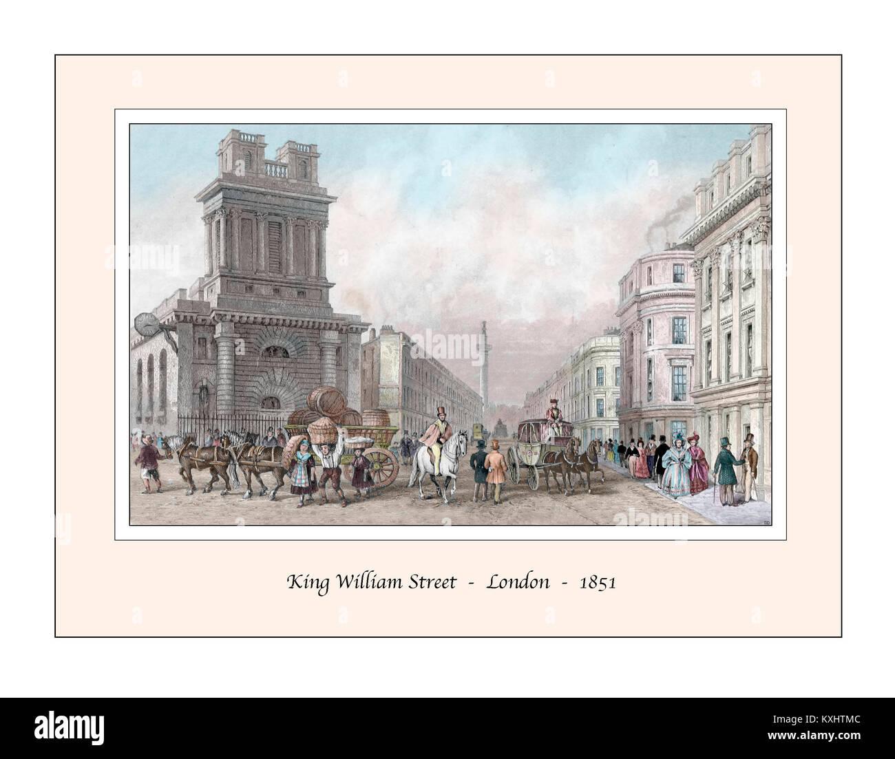 KIng William Street London Original Design based on a 19th century Engraving - Stock Image