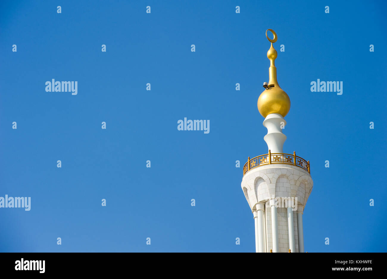 ABU DHABI, UNITED ARAB EMIRATES - DEC 28, 2017: Part of the roof from the Sheikh Zayed Mosque in Abu Dhabi. It is - Stock Image