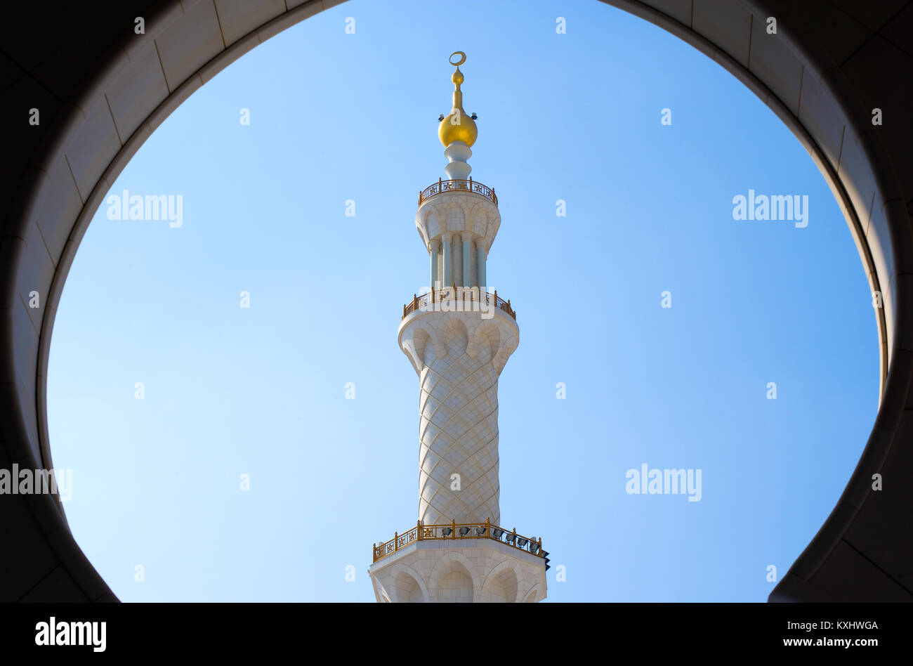 ABU DHABI, UNITED ARAB EMIRATES - DEC 28, 2017: Minaret on the roof from the Sheikh Zayed Mosque in Abu Dhabi. It - Stock Image