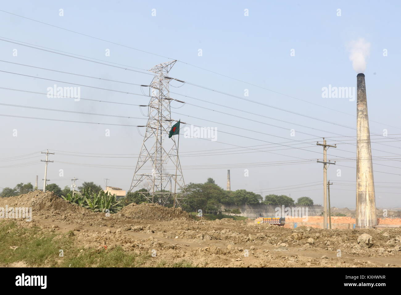 electricity pylon or transmission tower part of the national grid - Stock Image