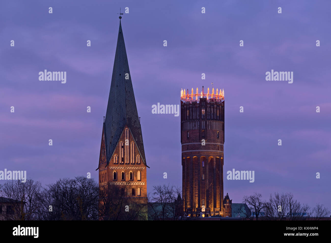 Johannis Church, old water tower with Advent wreath, Lueneburg, Germany - Stock Image