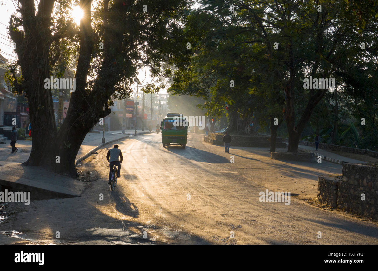 Early morning on Phewa Lake road, Pokhara, Nepal - Stock Image