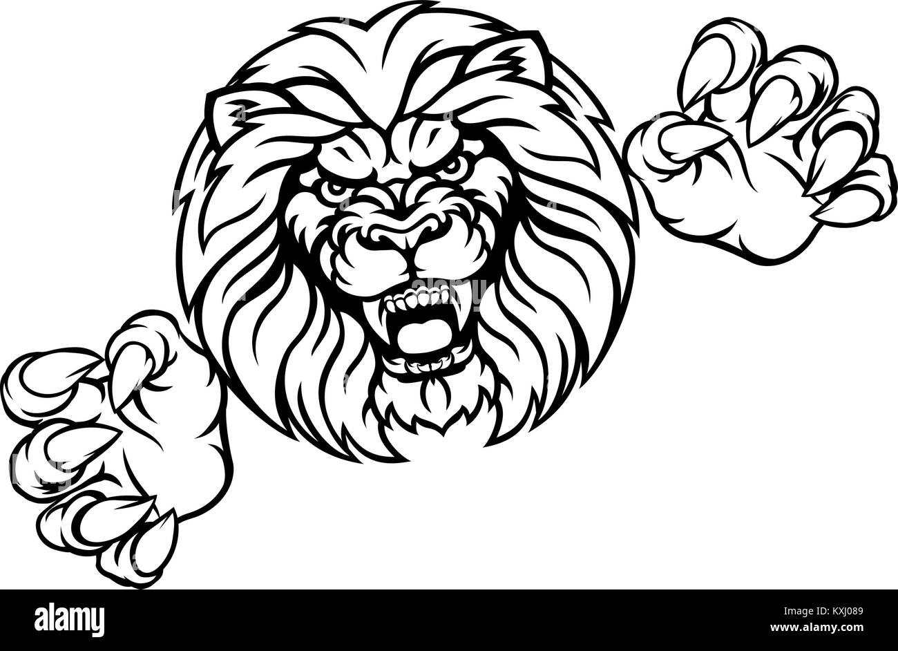 Lion Animal Sports Mascot - Stock Vector