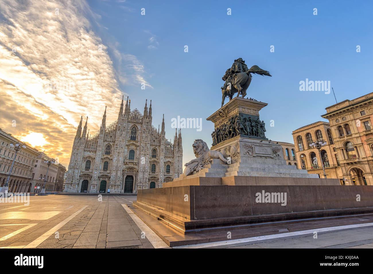 Milan Cathedral (Milan Duomo) when sunrise, Milan (Milano), Italy Stock Photo