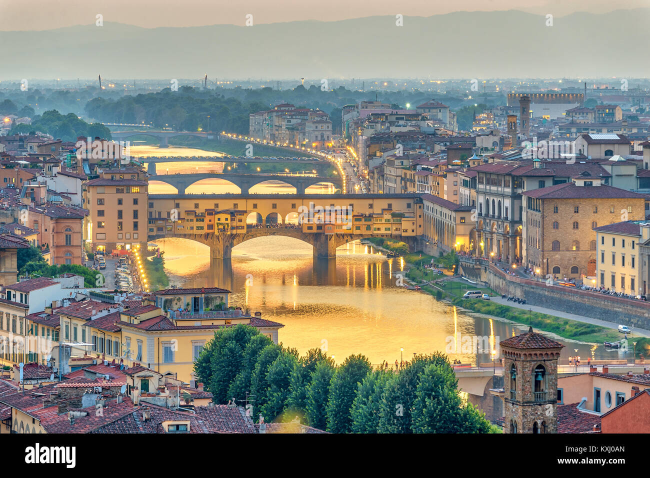 Florence sunset city skyline and Ponte Vecchio Bridge, Florence, Italy - Stock Image