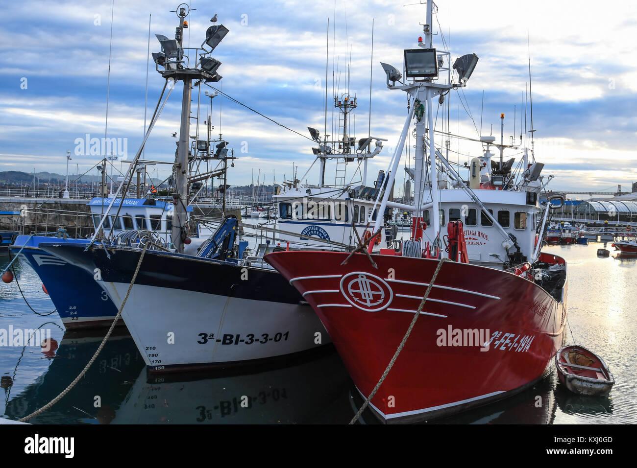 Close-up of fishing boats in the fishing port of Santurtzi Vizcaya - Stock Image