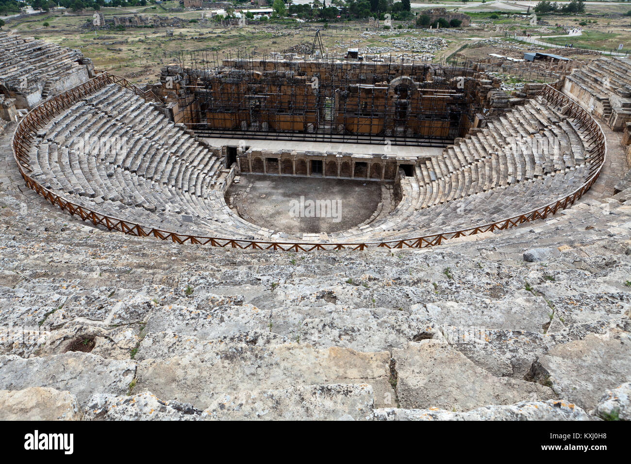 Theater ruins in Hieropolis, Pamukkale, Turkey - Stock Image