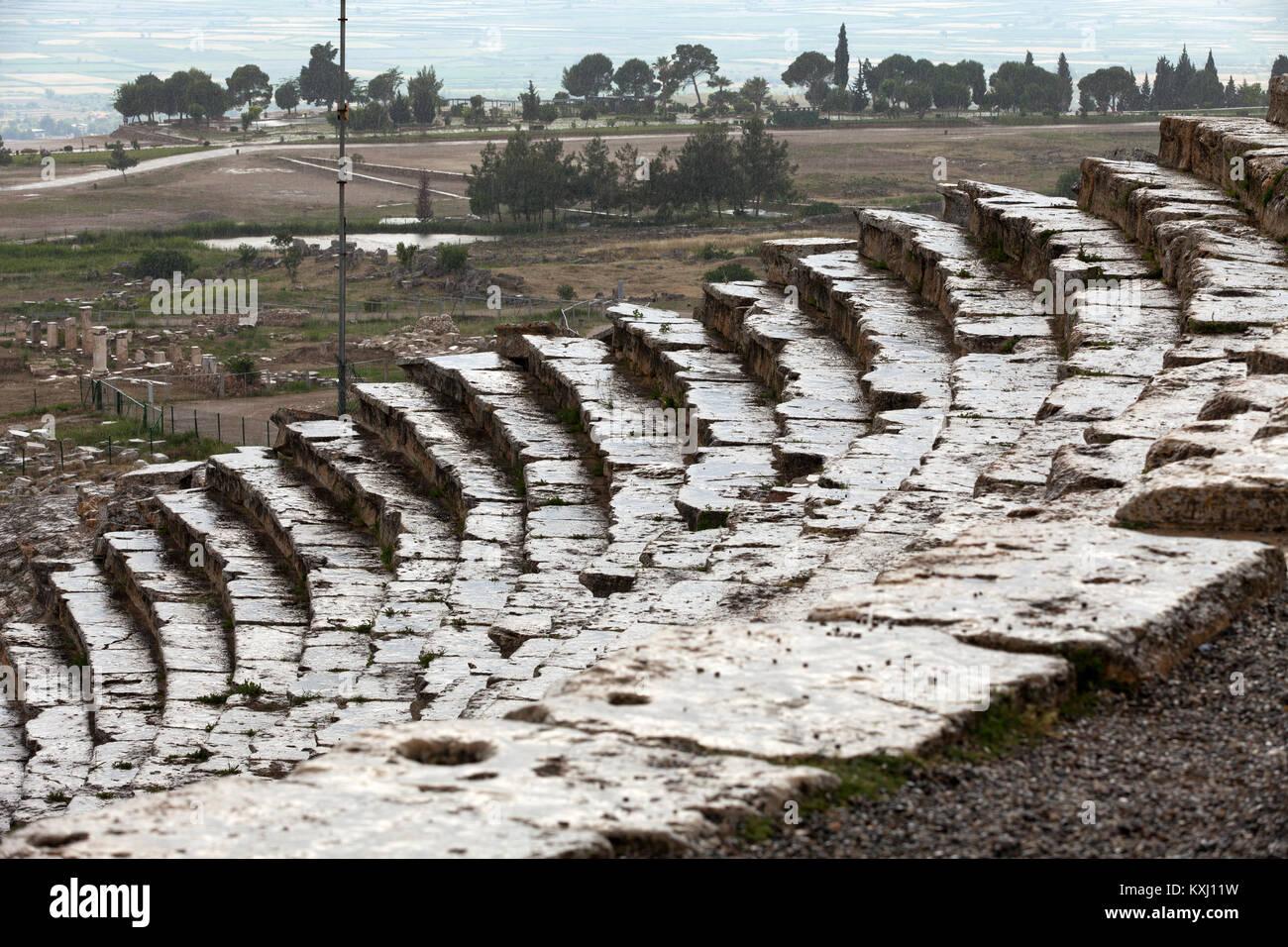 Theater ruins in Hieropolis, Pamukkale, Turkey - Stock Image