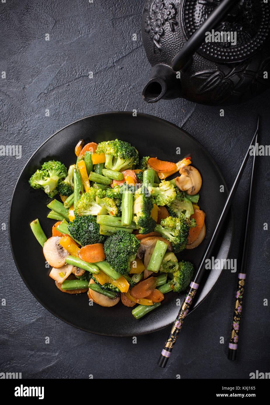 Stir fried vegetables - Stock Image