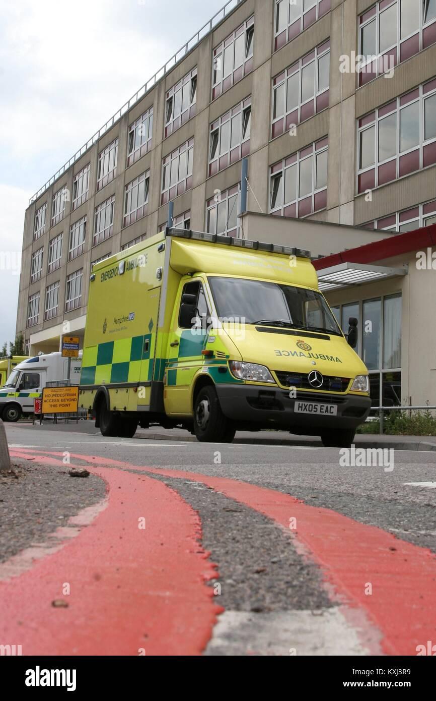 An ambulance outside Southampton General Hospital UK - Stock Image