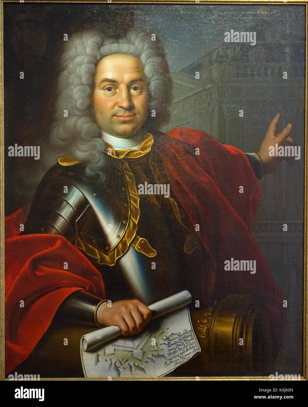 Balthasar Neumann by Marcus Friedrich Kleinert, 1727 - Mainfränkisches Museum - Würzburg, Germany - DSC04588 - Stock Image