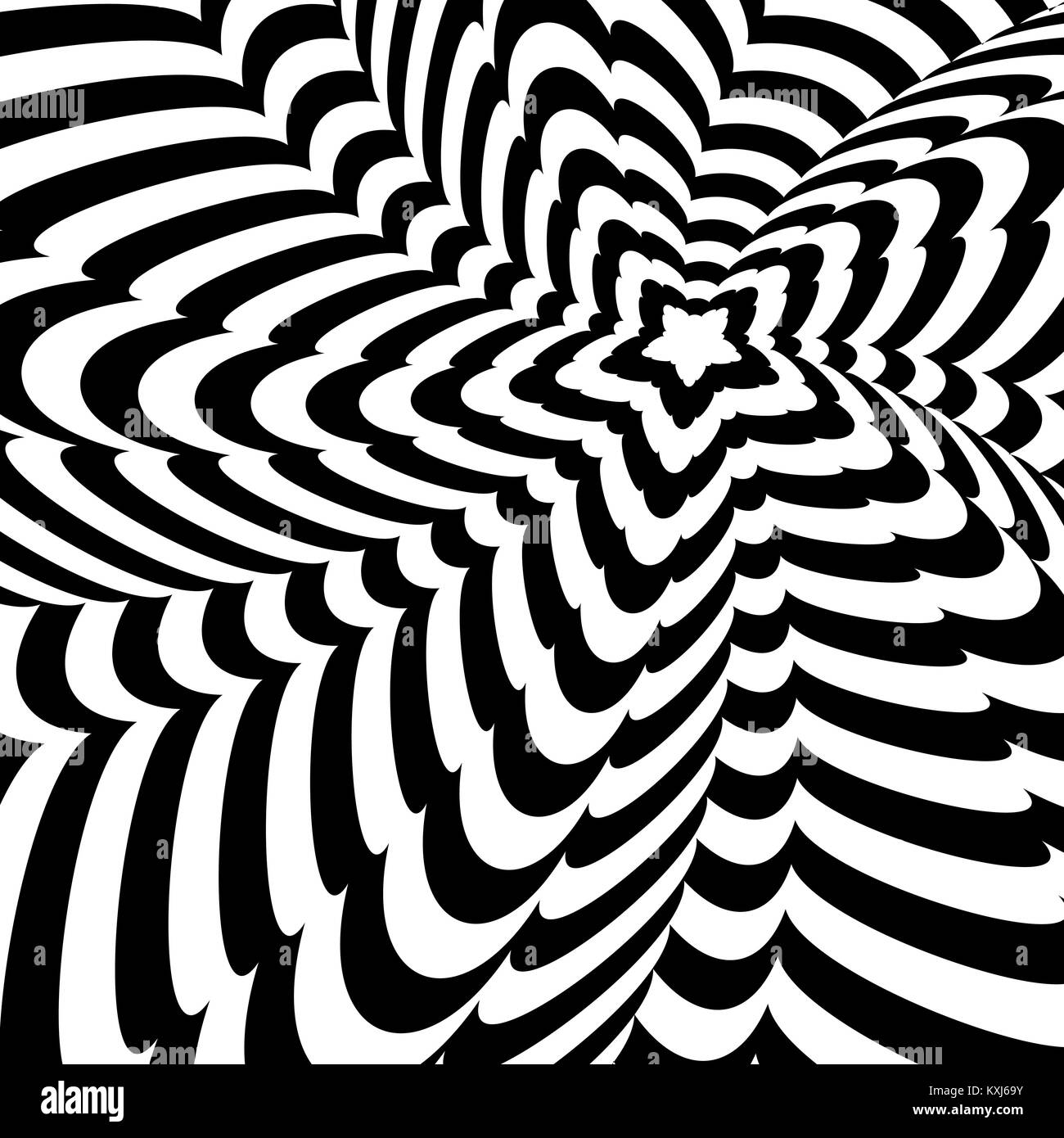 Abstract black and white optical illusion, creative vector twisted background of distorted star Stock Vector