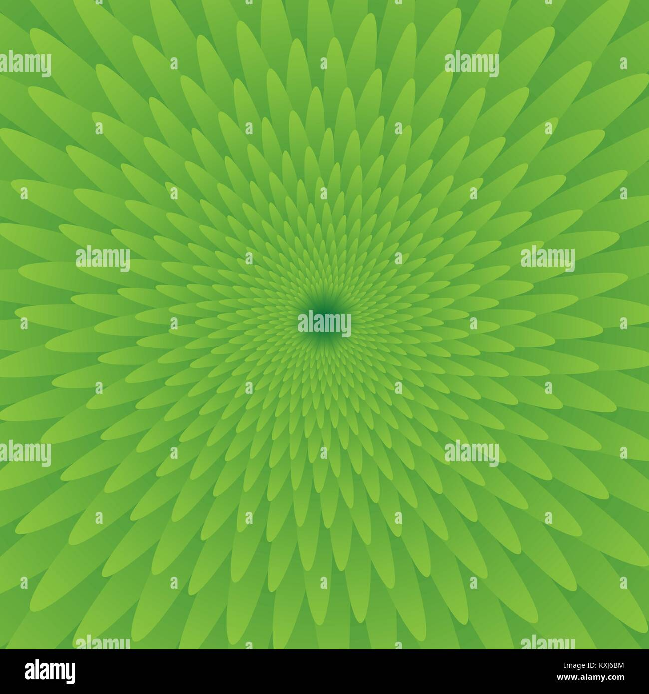 Abstract green optical illusion, creative vector background with gradient petals, movement simulation Stock Vector