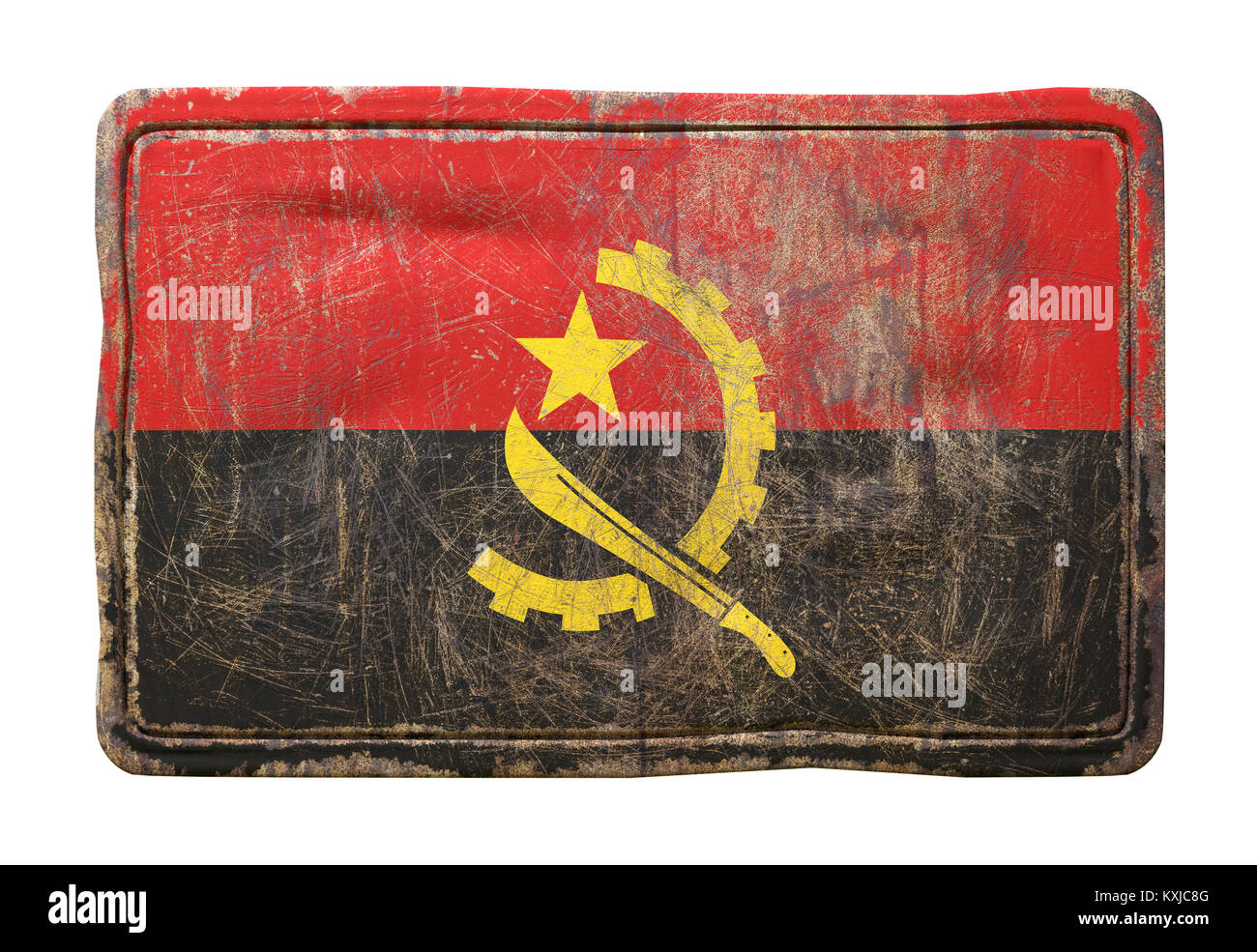 3d rendering of a Republic of Angola flag over a rusty metallic plate. Isolated on white background. - Stock Image