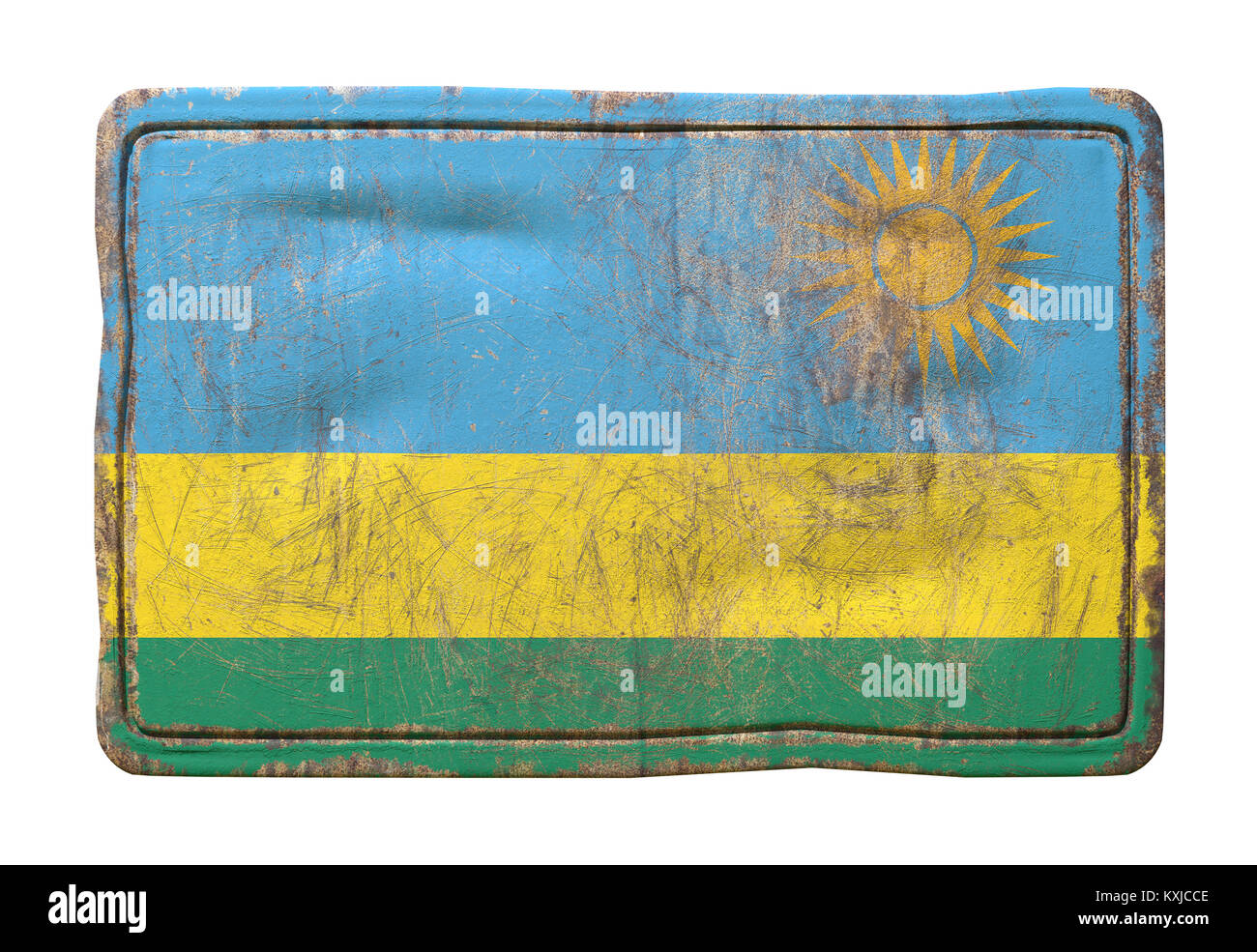 3d rendering of a Republic of Rwanda flag over a rusty metallic plate. Isolated on white background. - Stock Image